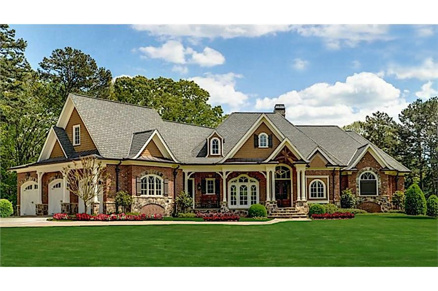 Transitional Craftsman style luxury Cottage home with 3-car garage and combination gable and hip roof