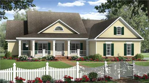 White picket fence in front of 4-bedroom country home