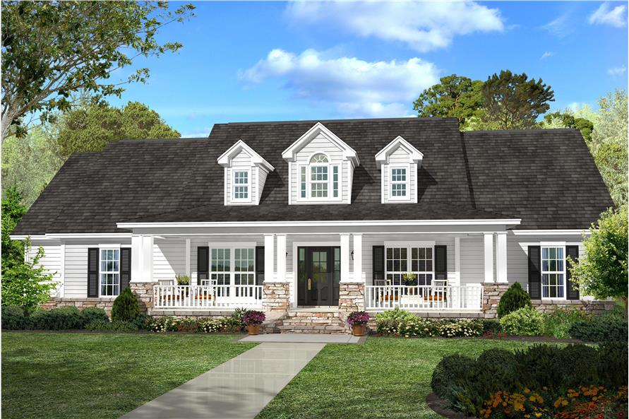 White Ranch style home with decorative dormers and front porch with stone accents