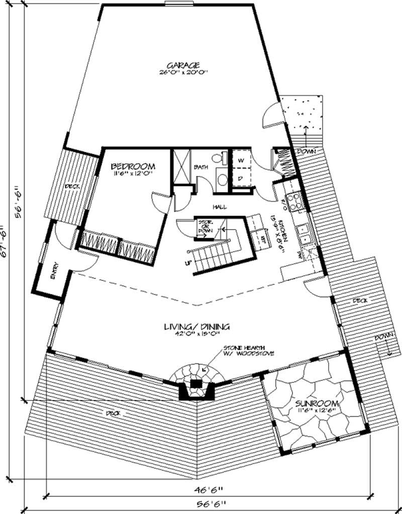 Main level floor plan of Contemporary passive solar home - plan # 146-1618