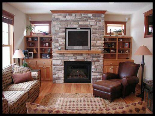Hearth room with shelves