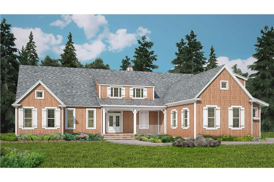 Shingle Style home with exterior of rock/stone and shakes, 3071 sq. ft. of living space, and 3 bedrooms