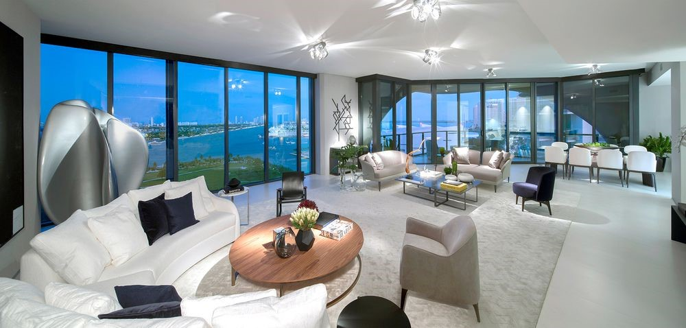 Great Room of a residence on the 17th Floor of One Thousand Museum in Miami