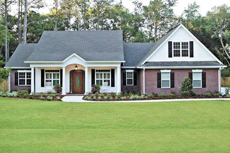 White Colonial style house plan #109-1184 with dark raised-panel shutters