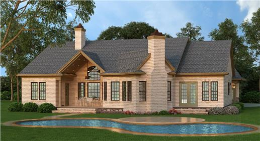 Craftsman home plan 108-1261 - rear view with pool