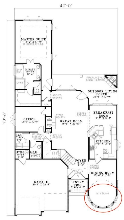 Main-level floor plan layout of European plan #153-1750