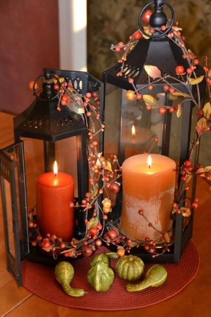 Candles decked out in fall decor
