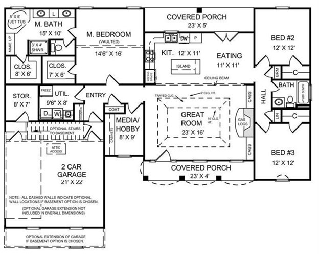 Main-level floor plan of one-story Colonial home with 3 bedrooms, 2 baths, and a mud room entry off the garage