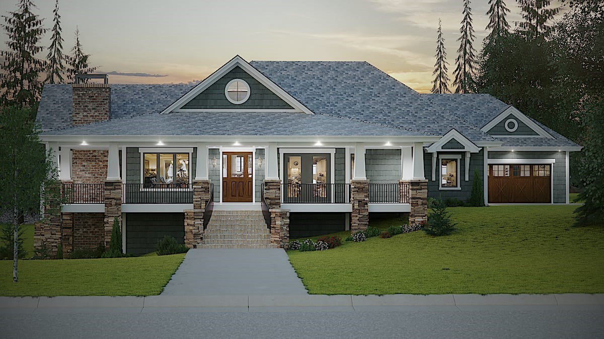 Beautiful Ranch home with stacked-stone accents and other contemporary Craftsman features