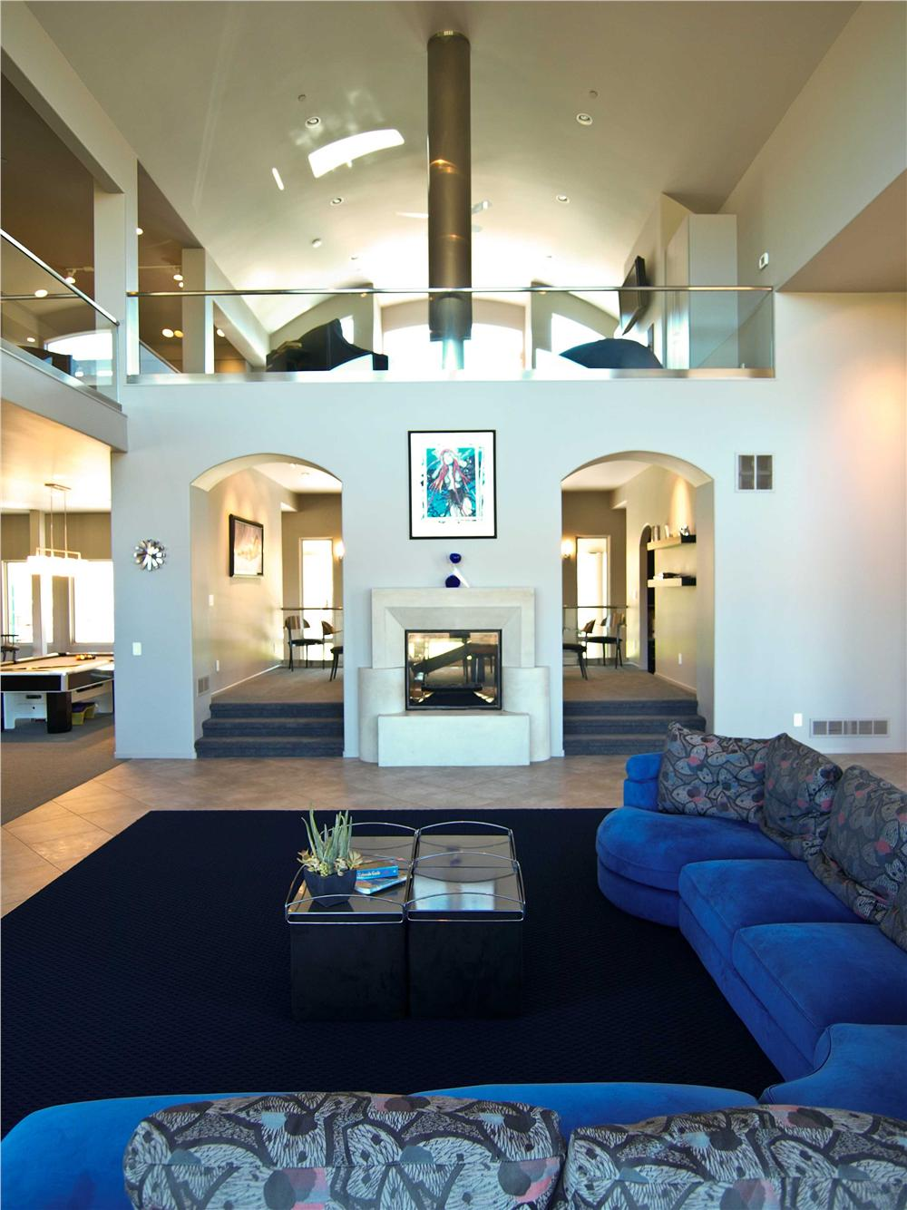 Lovely built-in room divider in open floor plan