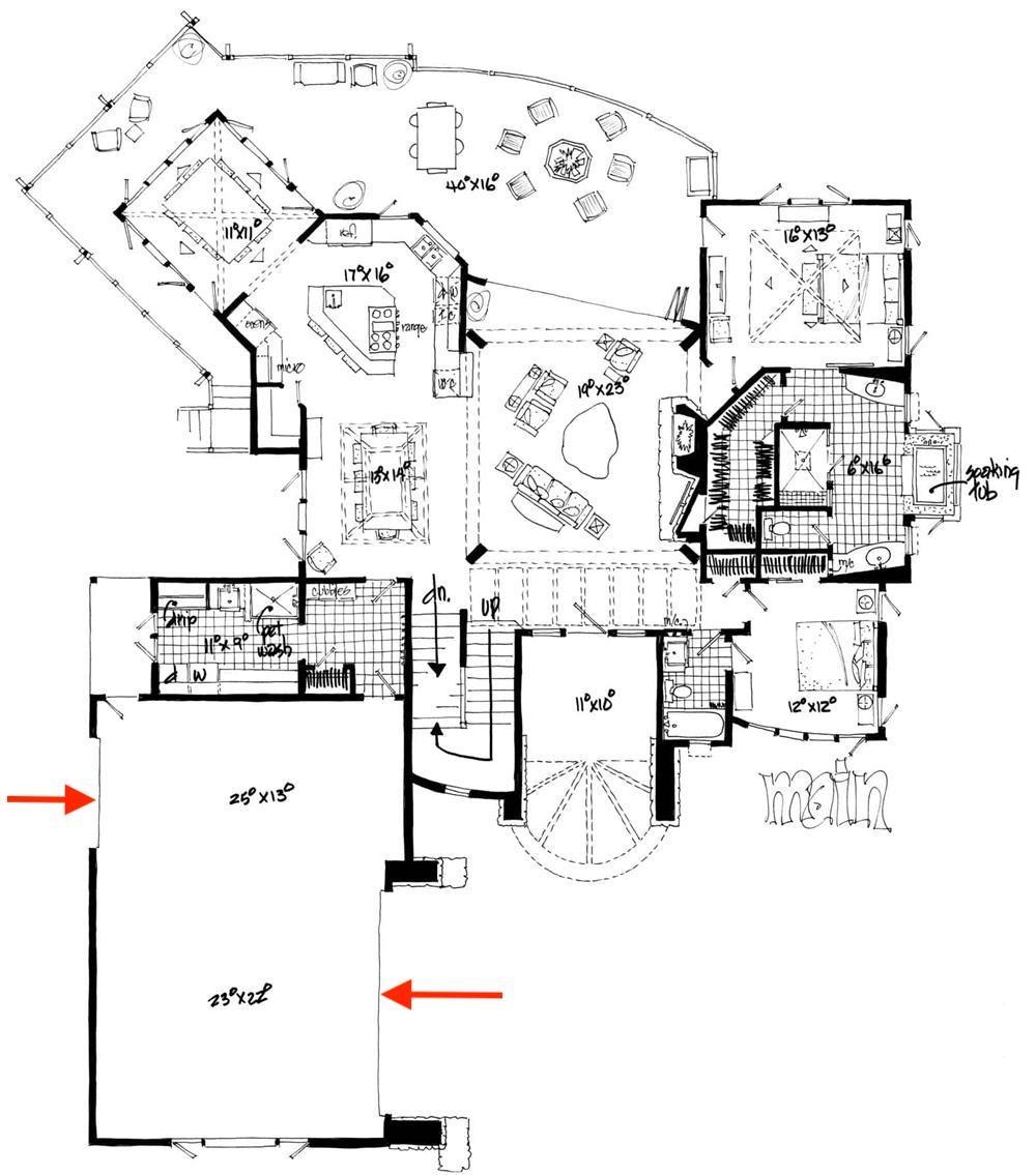 Floor plan of Contemporary home showing unusual garage arrangement