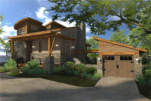 Attractive 2-story Cottage-style house plan with 2 bedrooms, 2 baths, and a basement for a third bedroom and game room