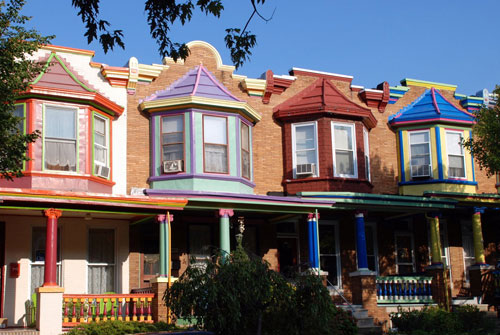Colorful Painted Ladies in Baltimore, Maryland