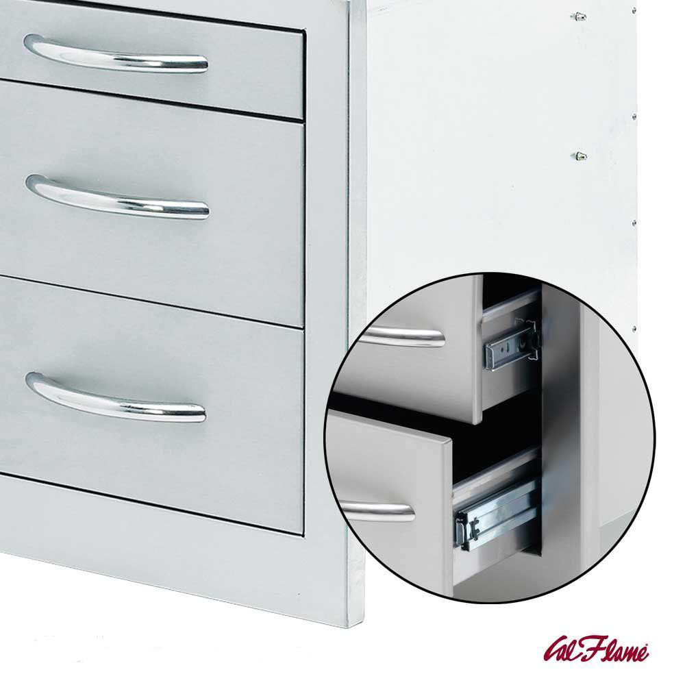 Stainless-steel cabinet with three sliding drawers