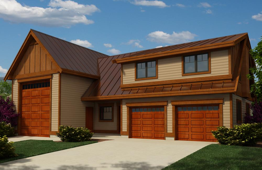 Wooden garage doors on Garage Plan #160-10126