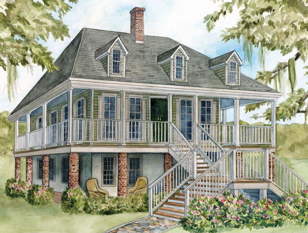 2-story French Colonial home with wraparound porch