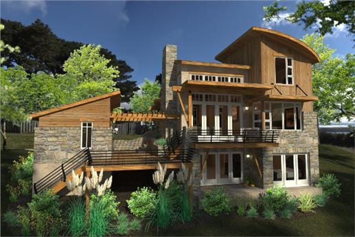 View of 2-story cottage plan #117-1101 showing daylight basement
