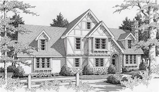 Rock-stone-stucco exterior, gabled roofs, small-pane windows, and chimney are evident in the rendering of this two-story English Tudor Manor