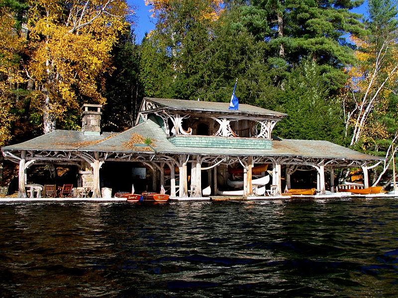 Original boathouse at Camp Topridge in the Adirondacks