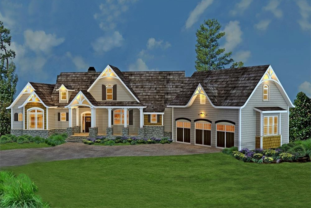 Large Ranch style house plan #106-1274 with board-and-batten window shutters