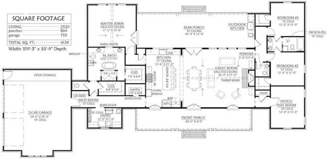 main-level floor plan of Farmhouse style home with 3 bedrooms and 2.5 baths (plan #206-1013)