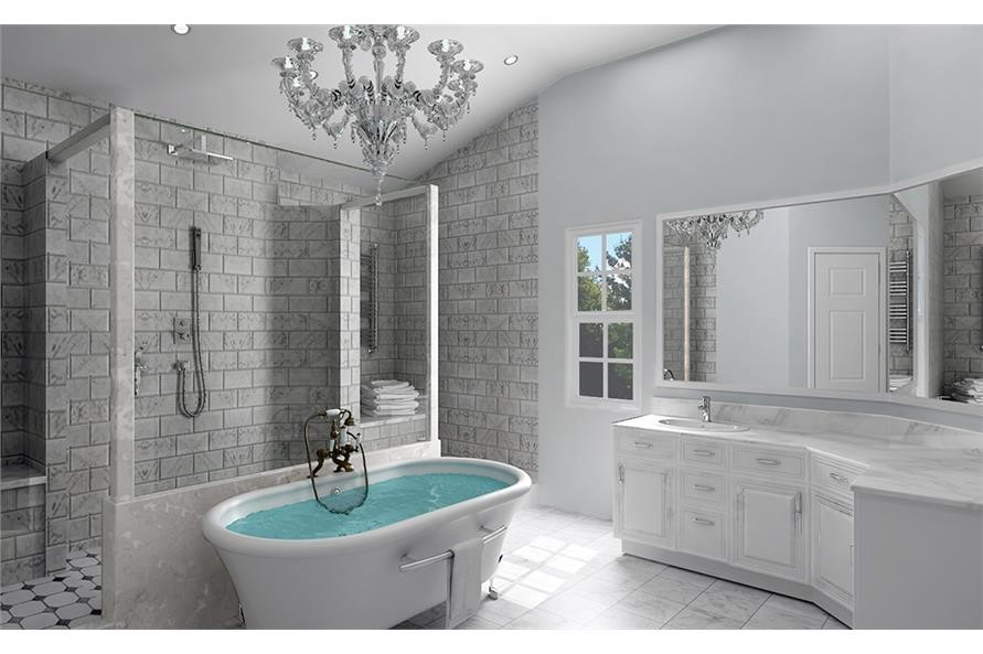 Luxurious master bathroom with separate shower and soaking tub