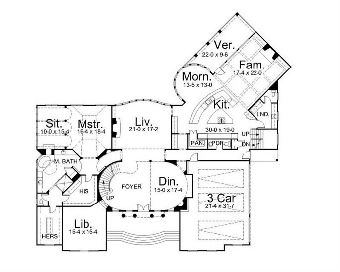 Main-level floor plan of 2-story 5,258-sq.-ft. Colonial home