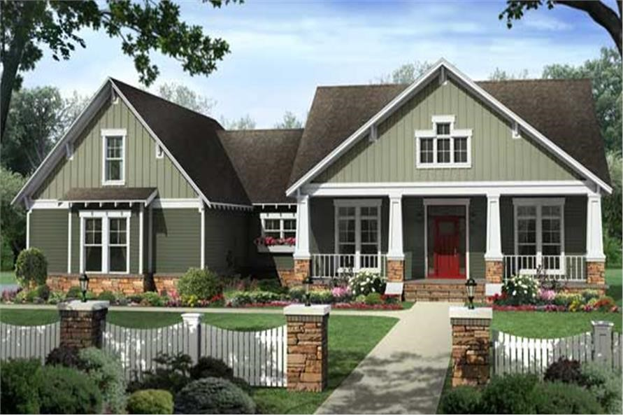 Wonderful Country style home with a lovely, welcoming front porch and red door