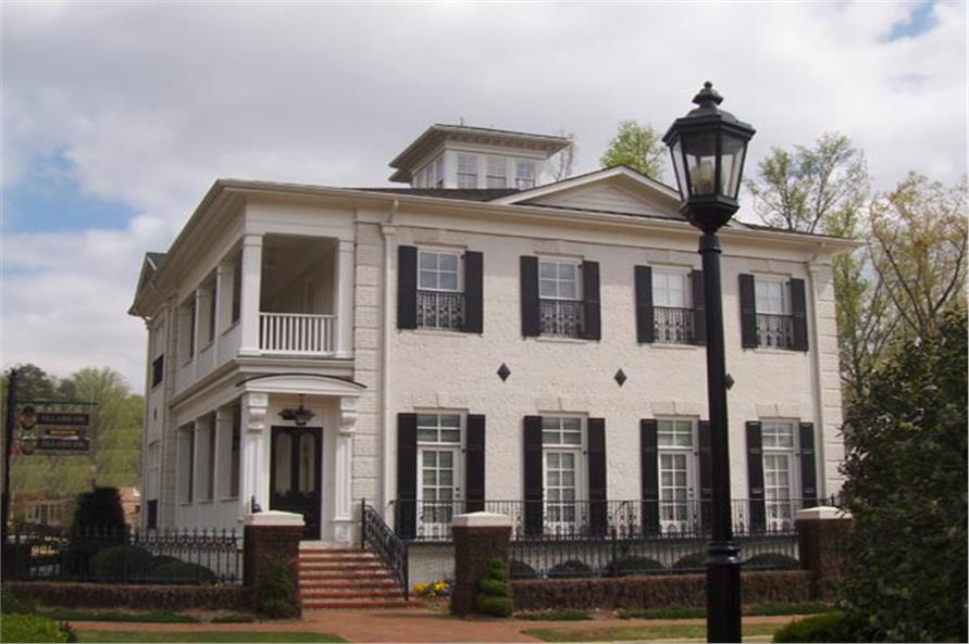Southern style home plan similar to University of South Carolina President's residence (House Plan #106-1297)
