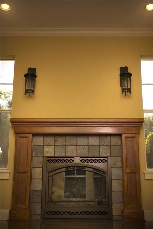 Details of the Arts and Crafts fireplace and mantel