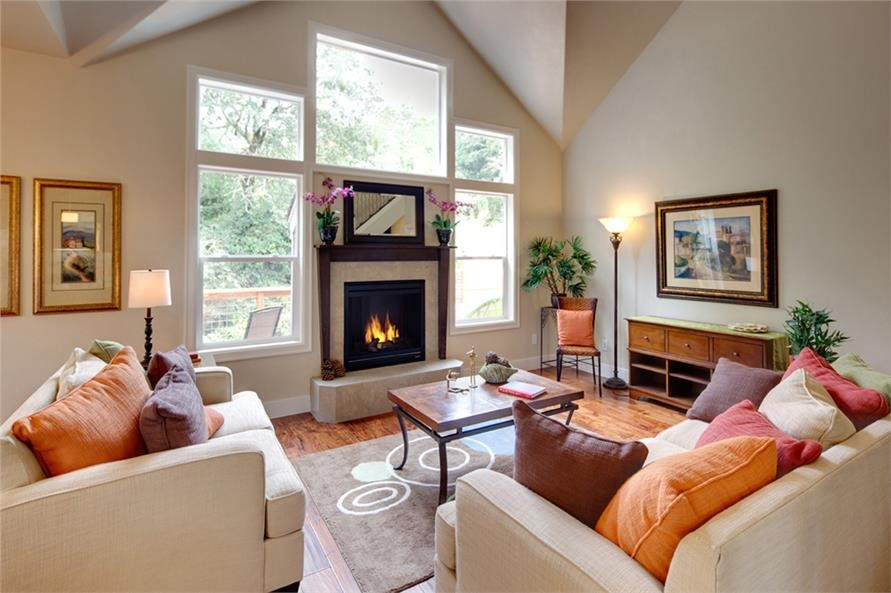 Country style fireplace in Great Room of house plan #108-1891