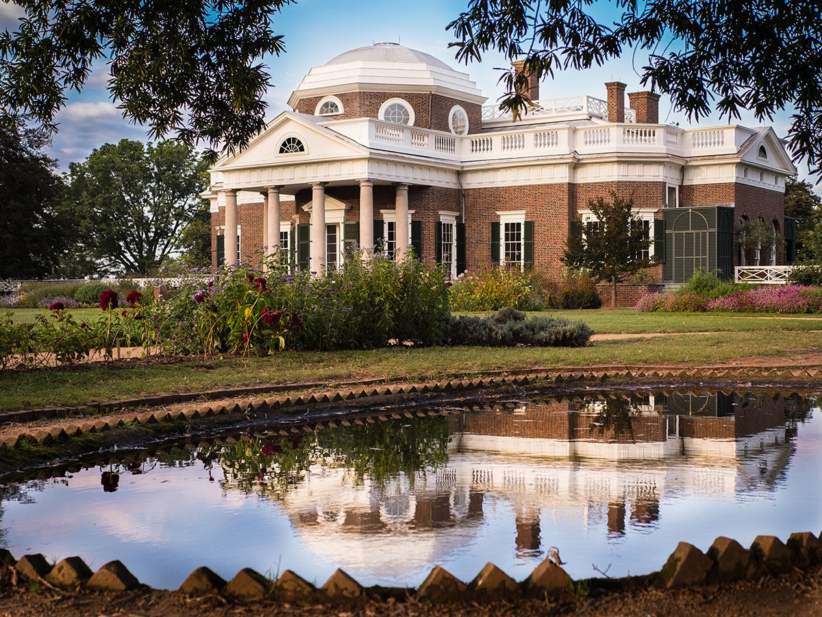 Western front of Thomas Jefferson's Monticello with green shutters