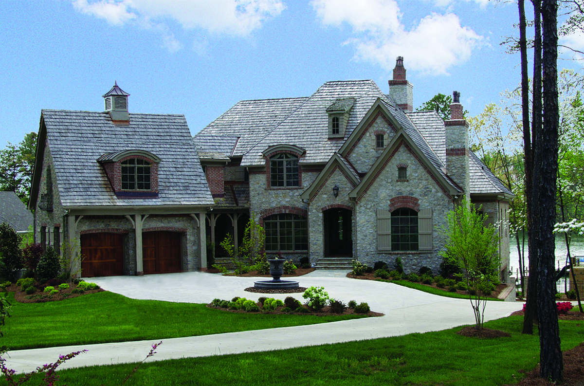 Two-story, five-bedroom castle-like home