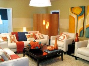 Living room displaying pumpkin spice theme
