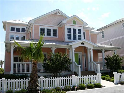 4-bedroom Beachfront home with large front porch and pink shingles in various designs
