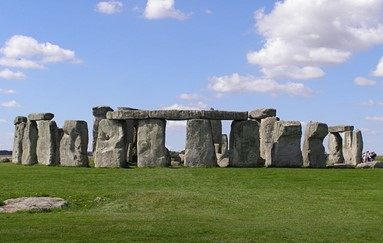 """View of the """"columns"""" or """"pillars"""" of Stonehenge in England."""