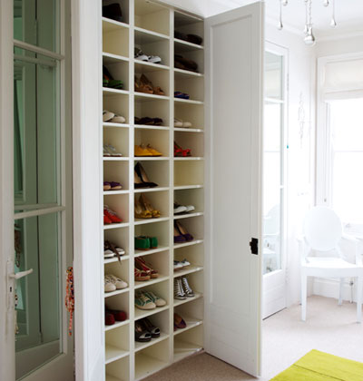 Utility can be attractive: wall of shoe shelves