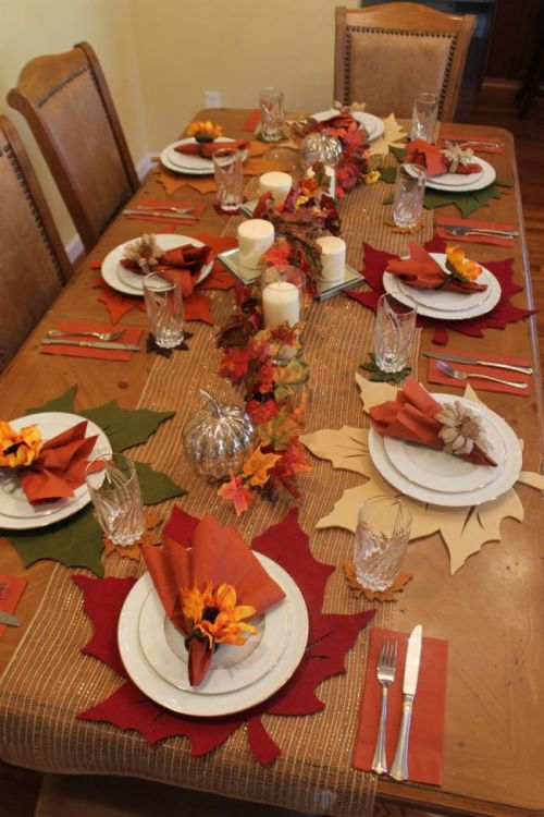 Dining table set up for autumnal celebration
