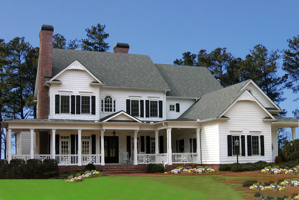 2-Story Colonial style home with white siding