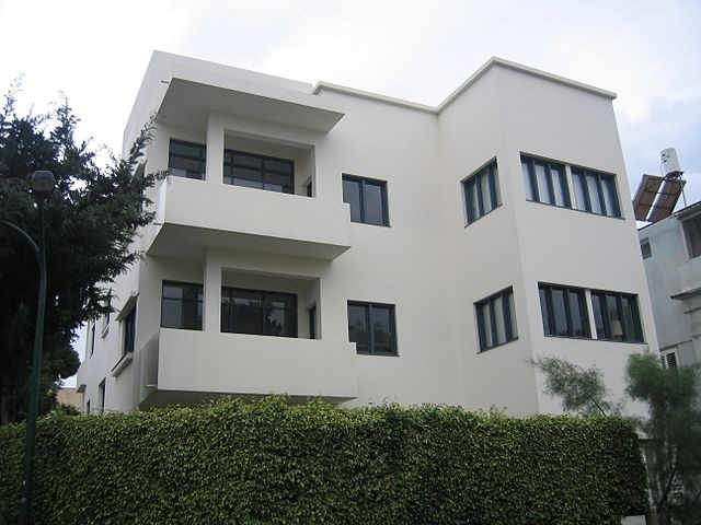 Bauhaus Museum in Tel Aviv, Israel, in typical cubist design of Bauhaus style