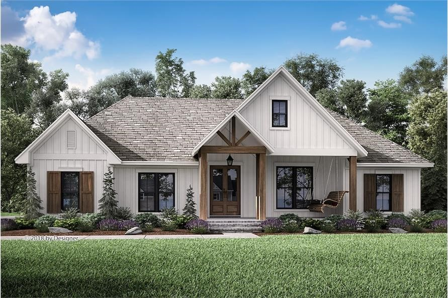 One-story Country style home with inviting front porch, exposed beams, and window shutters