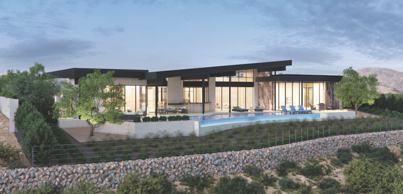 Exterior elevation of The New American Home 2019 highlights the infinity pool, the outdoor living area, and the floor-to-ceiling doors