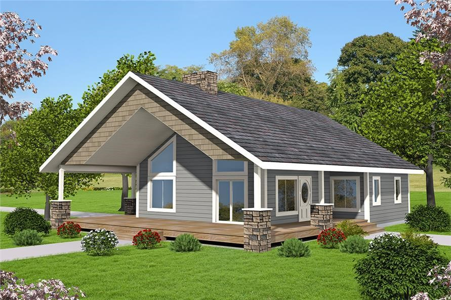 Tan and gray small house plan #132-1697 with shake siding and 2 bedrooms