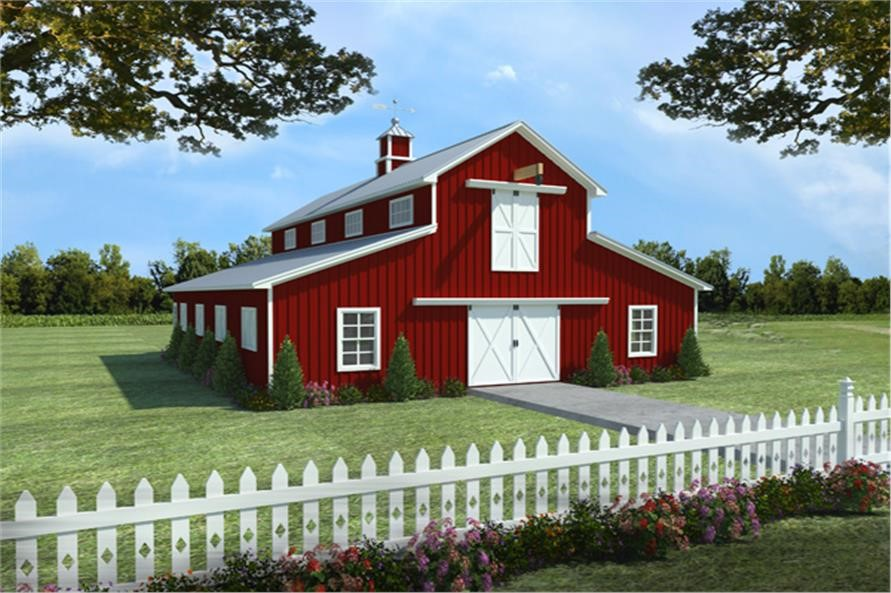 Red barn with an apartment on the left and an upper-level hayloft in the center