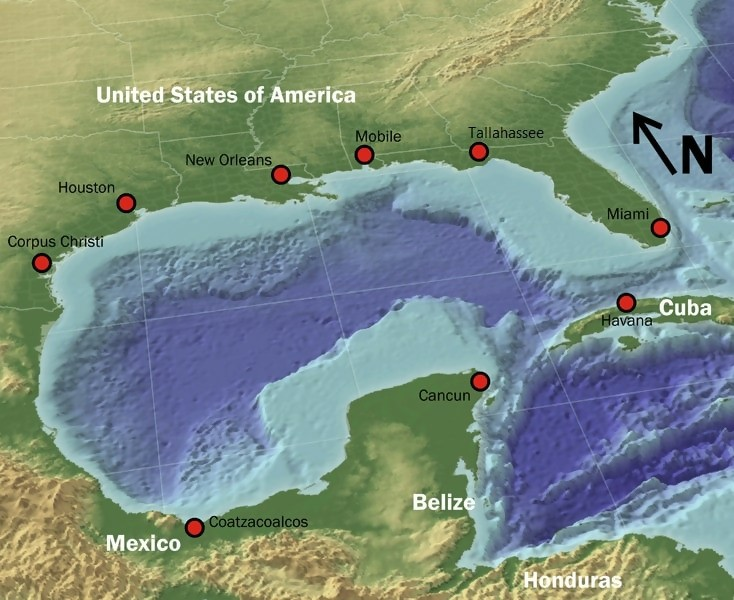 Map of the landmass surrounding the Gulf of Mexico
