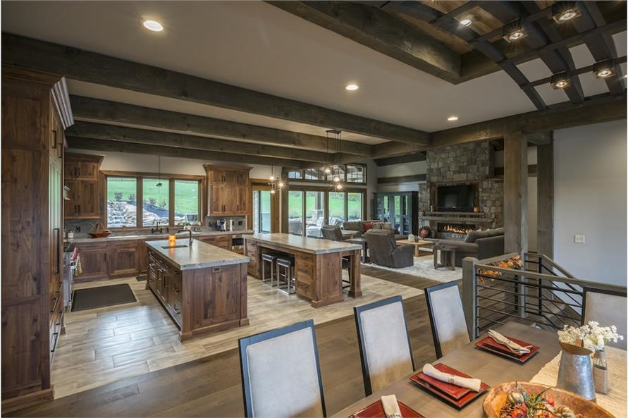 Large, modern kitchen with two islands, one for food prep and one primarily for eating