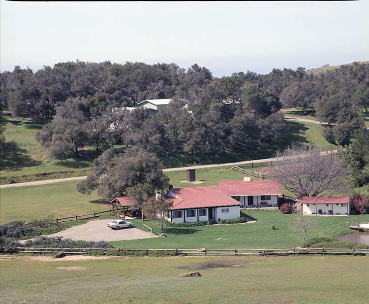 Panoramic view of Rancho del Cielo, showing most of its acreage and the unimposing adobe ranch house