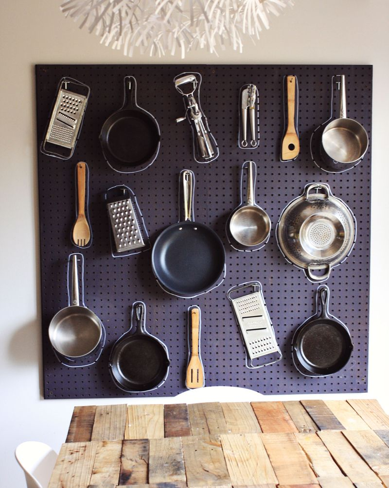 Pegboard storage in kitchen 14 Creative Kitchen