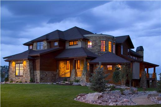 Get in tune with nature in a mountain style home for Mountain house plans rear view