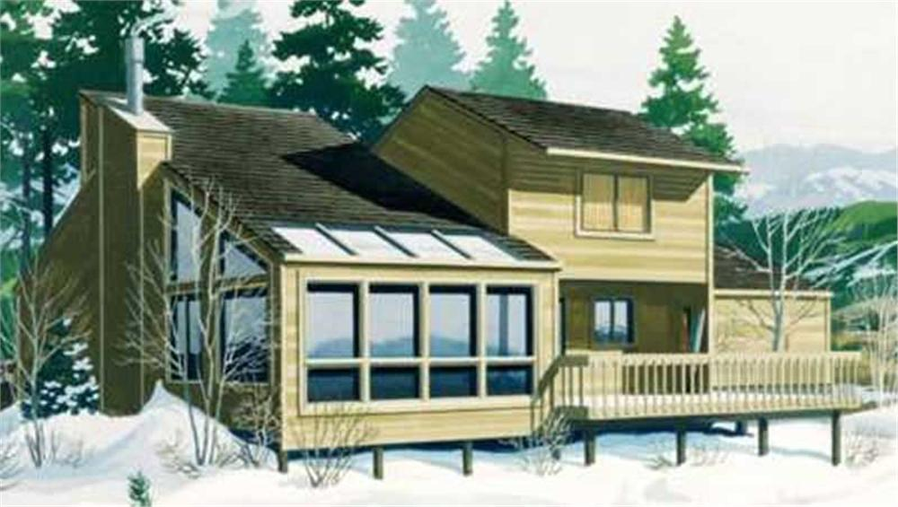 2-story passive solar home with deck and wood siding